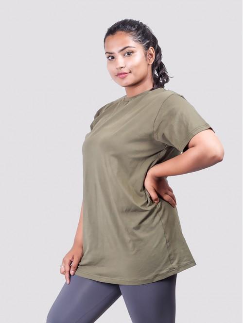 Khaki Basic Round Neck Top