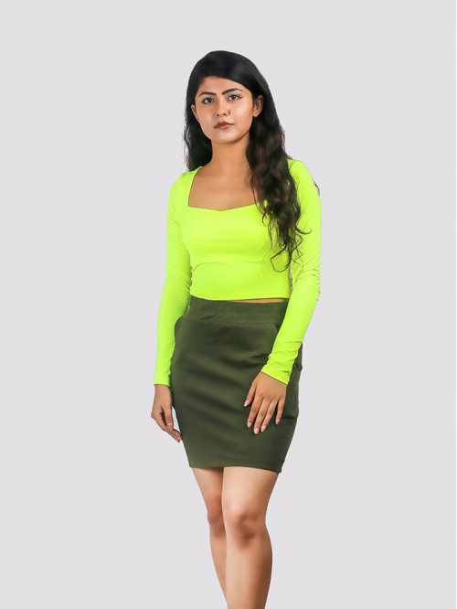 Lime Neon Square Neck Full Sleeve Top