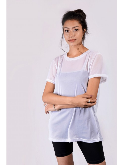 Net Half Sleeve Oversize Top