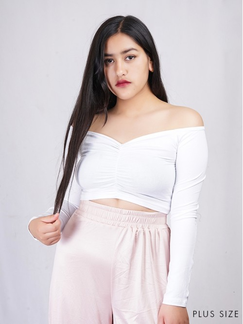 Front Crease Off-Shoulder Crop Top
