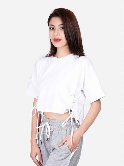 Oversized Half Sleeve Side Eyelet lace up Top