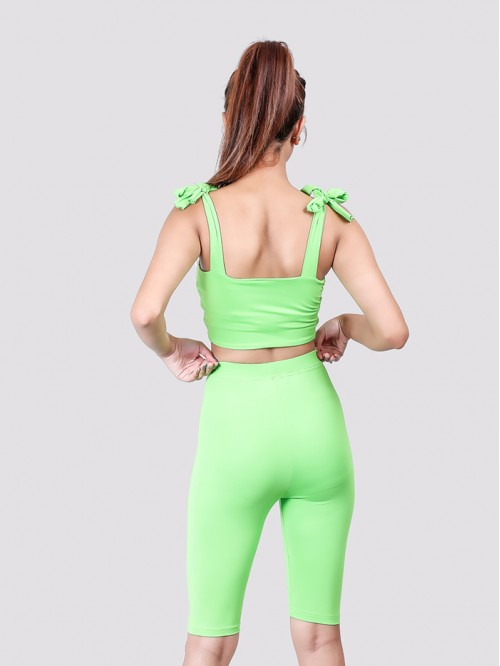 Neon Green Shoulder Tie up Bralet