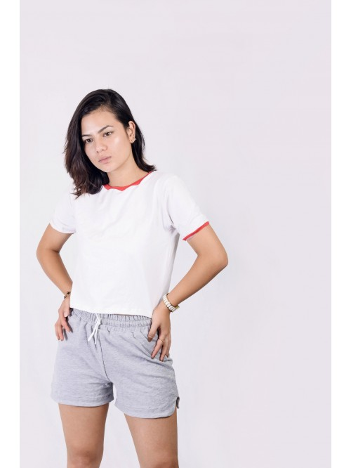 White Basic Contrast Crop Top