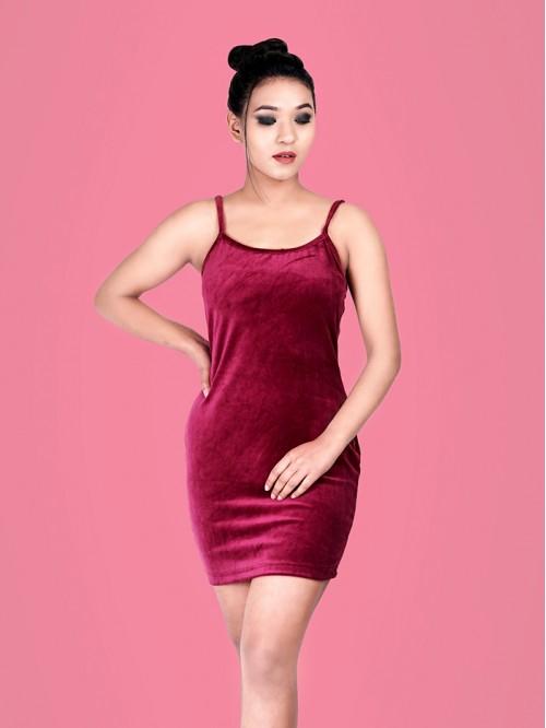 Velvet Sling Bodycon Dress